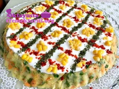 tart kalıbında patates salatasi