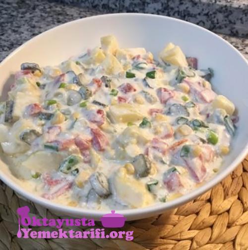 yogurtlu koz biberli patates salatasi